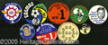 "Miscellaneous, GROUP LOT OF ""BETTER"" SPORTS PIN BACKS. Nine pieces, 1 ¾"" to 4""..."