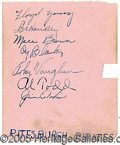 "Miscellaneous, 1936 PIRATES AUTOGRAPH PAGE WITH ARKY VAUGHAN. 4 ½ x a5 ½"" auto..."