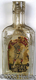 "Miscellaneous, VERY RARE EARLY GLASS ""RED SOX"" WHISKEY BOTTLE. Tiny pocket fla..."
