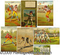 Miscellaneous, SEVEN COLORFUL 1880'S BASEBALL TRADE CARDS. Especially nice is ...