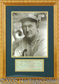 Miscellaneous, ULTIMATE PRESENTATION OF A TY COBB SIGNED CHECK. Desirable large...