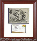 Miscellaneous, YOGI BERRA DISPLAY. Bold black ink Berra autograph on 1st day co...