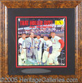 Miscellaneous, COLORFUL SIGNED RECORD ALBUM COVER, WITH THREE OF BASEBALL'S BES...