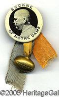 "Miscellaneous, RARE CIRCA 1930 KNUTE ROCKNE BADGE. Dynamic 1 ¾"" button, with r..."