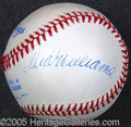 Miscellaneous, WILLIAMS AND DIMAGGIO SIGNED BALL. Clean, strong blue ballpoint...