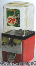"""Miscellaneous, 1950'S """"HOME RUN"""" GUMBALL MACHINE. American Chewing Gum product..."""
