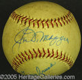 Miscellaneous, DIMAGGIO-SIGNED BALL. He signed it twice – this ONL (Giles) bal...