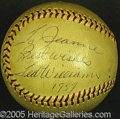 Miscellaneous, TED WILLIAMS' SINGLE SIGNED BALL. He was at least 38, and possi...