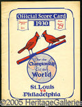 Miscellaneous, 1930 ST. LOUIS WORLD SERIES PROGRAM. Neatly chronicled for the ...