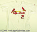 Miscellaneous, AUTOGRAPHED FAME WORN RED SCHOENDIENST OLD TIMER GAME JERSEY. A...