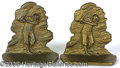 Miscellaneous, CAST METAL GOLFER ADORNED BOOKENDS TYPICAL 1920'S. This is a pai...
