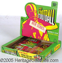 """1971 TOPPS FOOTBALL DISPLAY BOX. The lid bears an adhesive label declaring that this box holds a """"new series.""""..."""