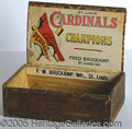 Miscellaneous, COLORFUL 1920'S CARDINALS CIGAR BOX. An appealing display item ...