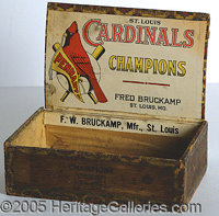 """COLORFUL 1920'S CARDINALS CIGAR BOX. An appealing display item for the 1926 or 1928 team. Moderate overall """"aging,&..."""