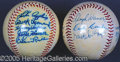 Miscellaneous, HOFER AUTOGRAPHED BALLS. Though mildly shellacked, this pair of...