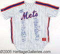 Miscellaneous, 1986 METS TEAM-SIGNED JERSEY. The medium is an unnumbered Rawlin...
