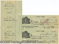 Miscellaneous, TY COBB CHECKS. Of the several Ty Cobb checks now affirmed in t...