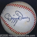 Miscellaneous, DIZZY DEAN SINGLE SIGNED BALL. Very strong and bold black sharpi...