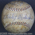 Miscellaneous, STAN COVALESKIE SIGNED 1920 WORLD SERIES BALL. Bold blue ink sig...