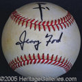 Miscellaneous, NIXON AND FORD SIGNED BASEBALL. Both vintage bold black sharpie...