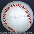 Miscellaneous, MANTLE SINGLE-SIGNED BALL. From early in his retirement, Mickey...