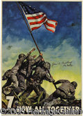 Military & Patriotic:WWII, 1945-DATED IWO JIMA POSTER SIGNED BY JOHN BRADLEY, ONE OF THE FL...