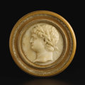 Marble:European, A Carved Marble Circular Relief Plaque. Unknown, Continental. 19thCentury. Marble with wooden frame. 8.5 inch diameter. ...