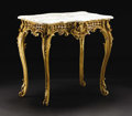 Furniture: French, A French Rococo-style Giltwood Center Table. Unknown maker, French.Nineteenth century. Giltwood and marble. Unmarked. 31 ...