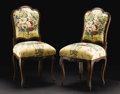 Furniture: French, A Pair of French Provincial Rococo Side Chairs. Unknown maker, French. Circa 1760-1780. Walnut and upholstery. Unmarked. 3... (Total: 2 )