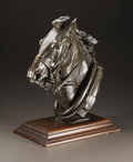 Bronze:American, A Bronze Head of Horse. American, circa 1900. Bronze mounted onwood base. Signed: H.M. Shrady. 15.5 inches x 11.5 inc...