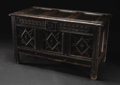 Furniture: English, A Seventeenth Century English Oak Carved Coffer. Unknown maker, English. Seventeenth Century. Oak. Unmarked. 24 inches hig...