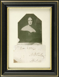 """Mary Shelley Signed & Dated Letter Closing. Clipped inscription reads, """"Yours Ever & Obliged M.W. Shelley..."""