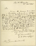 "Autographs:U.S. Presidents, William Henry Harrison Autograph Letter Signed to the Secretary ofWar A.L.S. ""W.H. Harrison"" as Chairman of the Senate ..."