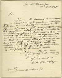 """William Henry Harrison Autograph Letter Signed to the Secretary of War A.L.S. """"W.H. Harrison"""" as Chairman of t..."""