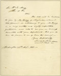 "Autographs:U.S. Presidents, James K. Polk Presidential Autograph Letter Signed to His Secretaryof War A.L.S. ""James K. Polk"", 1p., 7.5"" x 9.5"", Was..."