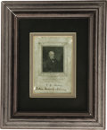 "Autographs:U.S. Presidents, John Quincy Adams, rare signed portrait ""John Quincy Adams"" in the bottom margin of a 3.25 x 4.5 inch bust engraving of ..."