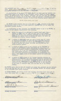 Autographs:Celebrities, Hank Williams Document Signed in black ink. One page, legal size,March 1, 1949. The contract is between Hank Williams and A...