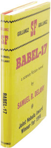Books:First Editions, Samuel Delany: Babel-17. (London: Victor Gollancz, 1967), first hardcover edition, 192 pages, red cloth with gilt titles...