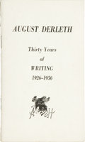 Books:Pamphlets & Tracts, August Derleth: Thirty Years of Writing 1926-1956. (SaukCity: Arkham House, no date), first edition, 30 pages, staple-b...