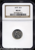 Three Cent Nickels: , 1870 MS64 NGC. ...