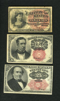 Fractional Currency:Fifth Issue, Fr. 1257 10¢ Fourth Issue Very Good-Fine.. Fr. 1266 10¢ Fifth IssueExtremely Fine.. Fr. 1308 25¢ Fifth Issue Very Fine.... (Total: 3notes)
