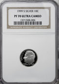 Proof Roosevelt Dimes: , 1999-S 10C Silver PR70 Deep Cameo NGC. . NGC Census: (182/0). PCGSPopulation (20/0). Numismedia Wsl. Price for NGC/PCGS c...