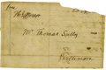 Autographs:U.S. Presidents, Thomas Jefferson Free Franked Cover Signed...