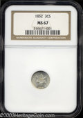 Three Cent Silver: , 1852 MS67 NGC. ...