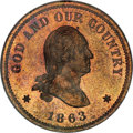 Patterns, 1863 2C Two Cents, Judd-305, Pollock-370, R.4, PR66 Red and BrownNGC....