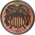 Patterns, 1863 2C Two Cents, Judd-312A, Pollock-377, R.4, PR64 Red and Brown PCGS....
