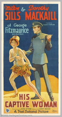 """His Captive Woman (First National, 1929). Three Sheet (41"""" X 81""""). After killing her sugar-daddy, cabaret danc..."""