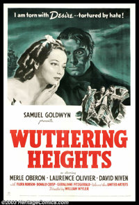 """Wuthering Heights (United Artists, 1939). One Sheet (27"""" X 41""""). Emily Bronte's novel was adapted into one of..."""