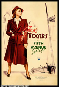 "Fifth Avenue Girl (RKO, 1939). (40"" X 60"") Photo Gelatin. This is a charming, timeless comedy as Ginger Rogers..."