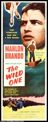 "The Wild One (Columbia, 1953). Insert (14"" X 36""). Marlon Brando was the natural choice to play the leather-ja..."